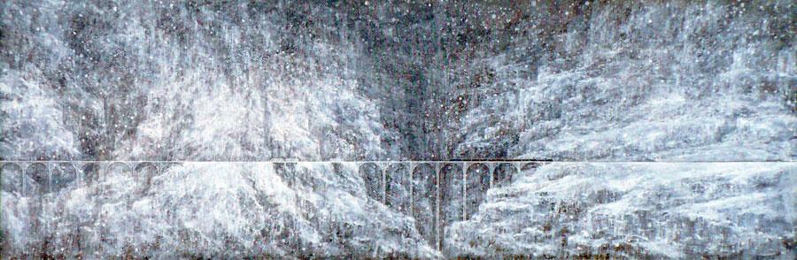 "MOUNTAIN TRESTLE   Acrylic on Canvas, 17"" x 48"""