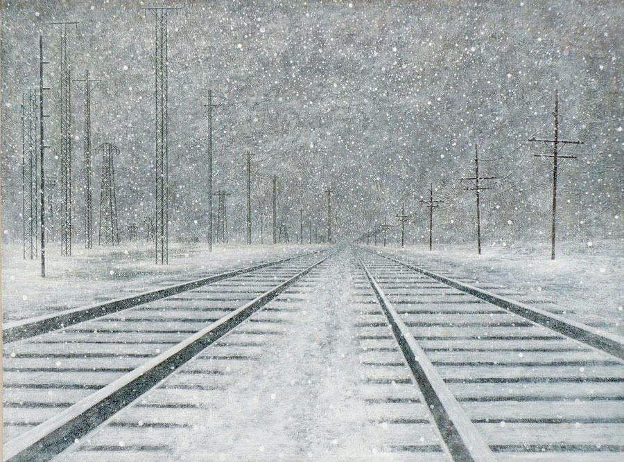 """Tracks in Winter   Acrylic on Canvas, 24"""" x 36"""""""