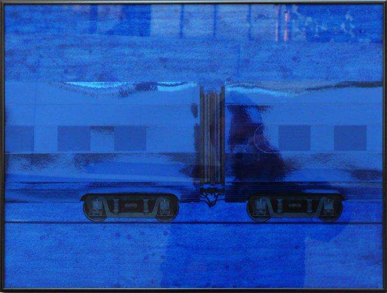 "Untitled (Blue Express)   Mixed Media 25"" x 34"""