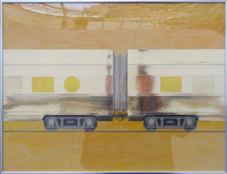 "Untitled (Yellow Express)   Mixed Media 25"" x 34"""
