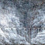 "MOUNTAIN TRESTLE | Acrylic on Canvas, 17"" x 48"""
