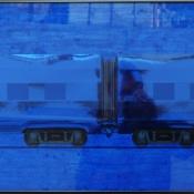 "Untitled (Blue Express) | Mixed Media 25"" x 34"""