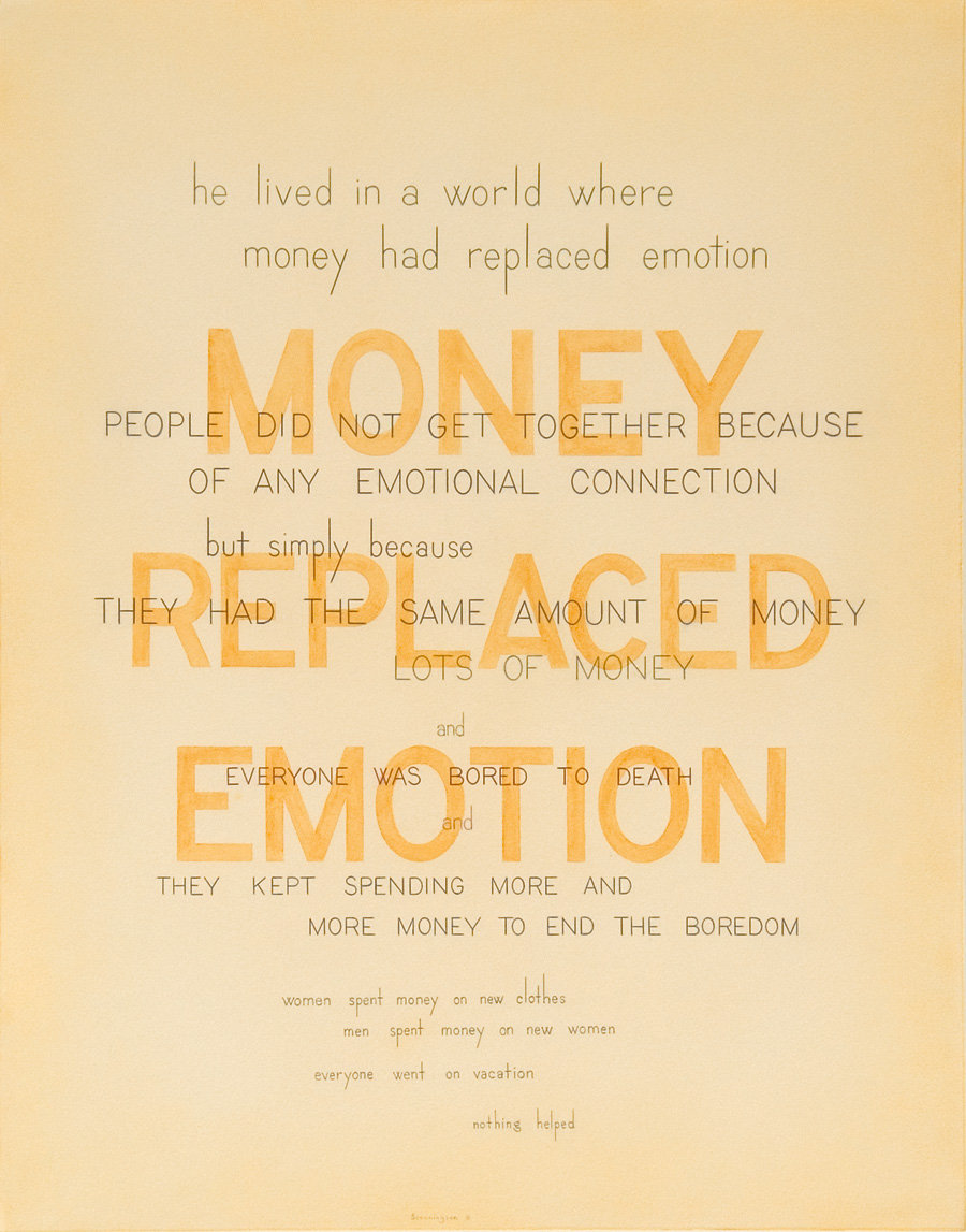"""HE LIVED IN A WORLD WHERE MONEY HAD REPLACED EMOTION Mixed Media on Paper 29"""" x 23"""""""