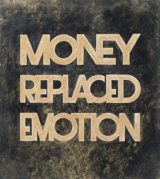 """MONEY REPLACED EMOTION, Acrylic on Canvas, 12"""" x 14"""""""